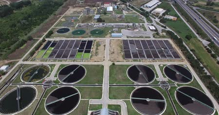 bird's eye view : aerial view of Thesaloniki a city sewage treatment plant Stock Footage