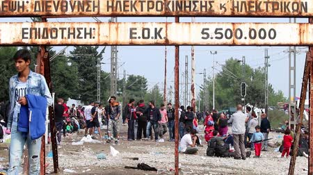 göç : Idomeni, Greece - September 24 , 2015: Hundreds of immigrants are in a wait at the border between Greece and FYROM waiting for the right time to continue their journey from unguarded passages Stok Video