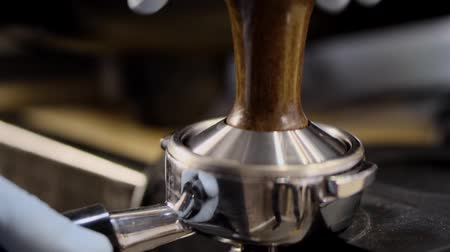 frothy : barista makes cappuccino close-up HD Stock Footage
