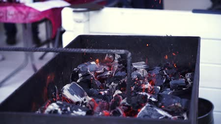 tűzifa : BBQ Grill and glowing coals..