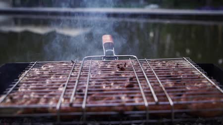 barbequing : sausages are grilled on coals in grill for cooking kebabs. Stock Footage