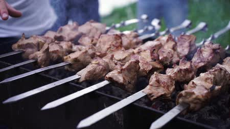 フランクフルター : Meat Grilled on Skewers on the Grill.