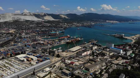 eksport : Aerial view of port of Novorossijsk city. Wideo