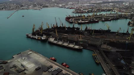 ithalat : Aerial view. sea port of export and import. business in the sea. Logistics and transportation.