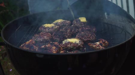schab : Cheese burgers cutlets on top grilled outside barbecue