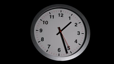 tachometer : Timelapse of classic wall clock with gray frame and black and red clock hands