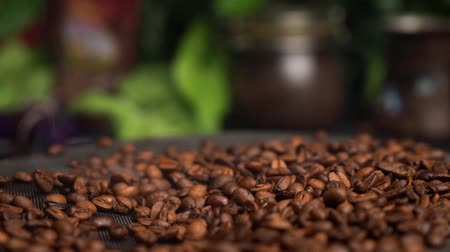 Slow motion coffee beans are roasted on a frying pan, smoke comes from coffee beans. Nice background with green plants and coffee pack. Falling coffee beans. Stock mozgókép