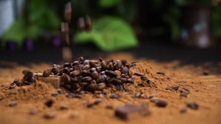 Coffee beans falling in a cacao powdre of coffee powder on a blck table.