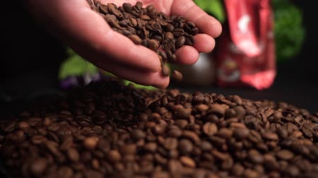 antioksidan : Roasted Coffee Beans Falls Down from Farmer Hands on a black table with food background