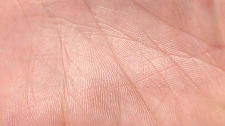 The skin on the palm close up in daylight Stock Footage