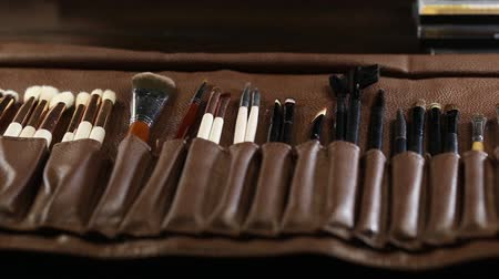 makeup brushes close-up