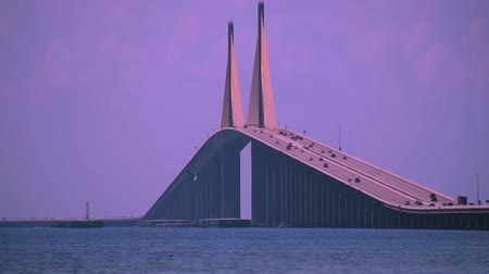 tampa bay : Tampa Bay, Florida. April 30, 2019. Panoramic view of The Bob Graham Sunshine Skyway Bridge.