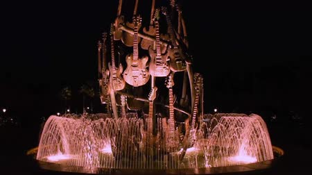 universal studios : Orlando, Florida. March 20, 2019. Illuminated Guitar Fountain at Hard Rock Hotel in Universal Studioos area.