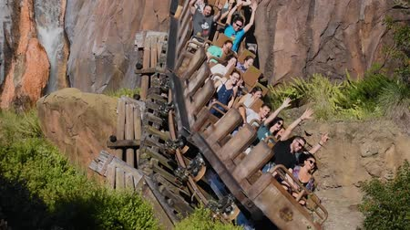 enjoynment : Orlando, Florida. April 30, 2019. People enjoying Expedition Everest Legend of the Forbidden Mountain rollercoaster in Animal Kingdom at Walt Disney World (1)