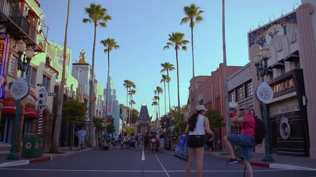 curto : Orlando, Florida. May 20, 2019. Funny womens taking pictures on Hollywood Boulevard at Hollywood Studios in Walt Disney World area. Stock Footage
