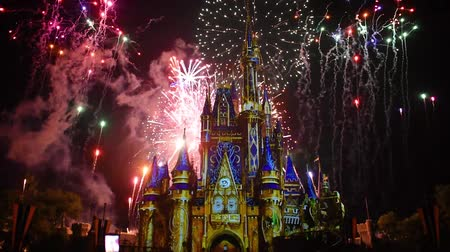 díszítés : Orlando, Florida. May 28, 2019. Happily Ever After is Spectacular fireworks show at Cinderellas Castle on dark night background in Magic Kingdom (2) Stock mozgókép