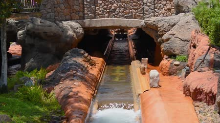 epcot : Orlando, Florida. May 23 2019. People having fun in boat splashing water in Splash Mountain at Magic Kingdom (1)