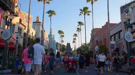древесный : Orlando, Florida. May 20, 2019. Funny womens taking pictures on Hollywood Boulevard at Hollywood Studios in Walt Disney World area. Стоковые видеозаписи