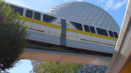 Orlando, Florida. May 24, 2019. Top view of Monorail and Big Sphere in Epcot at Walt Disney World Resort area.