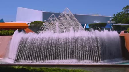 enjoynment : Orlando, Florida. May 24, 2019. Beautiful fountain and metal pyramids in Epcot at Walt Disney World Resort area,