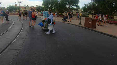 sete : Orlando, Florida. May 18, 2019. Disney Saleswoman, walking and dancing with bubble at the Magic Kingdom. Stock Footage