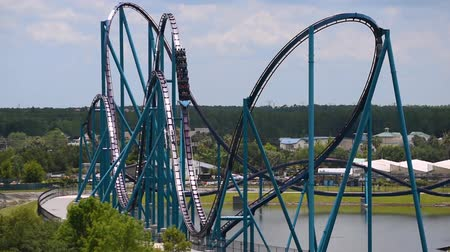 Orlando, Florida. June 03, 2019. Panoramic view of people enjoying Mako rollercoaster at Seaworld 1