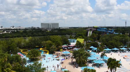 dolphin : Orlando, Florida. June 03, 2019. Panoramic view of people enjoying pool and water attractions at Aquatica. 2