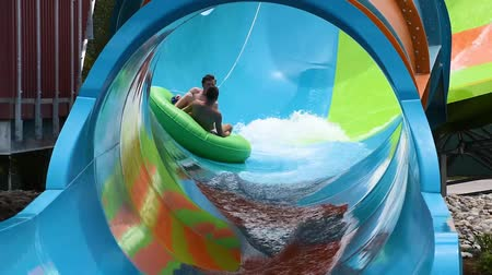 Orlando, Florida. June 05, 2019. People enjoying curve shaped wave in Karakare Curl attraction at Seaworld 1