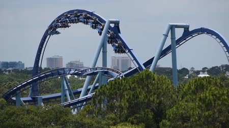 Orlando, Florida. June 03, 2019. People having fun amazing Manta Ray rollercoaster at Seaworld 2