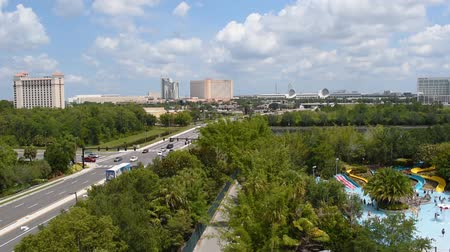 Orlando, Florida. June 03, 2019. Time lapse of Panoramic view of International Drive, I4, Convention Center area and Aquatica water park. Стоковые видеозаписи