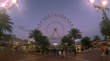 Orlando, Florida. May 25, 2019. Colorful and Illuminated Orlando Eye in International Drive area. Стоковые видеозаписи