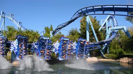 Orlando, Florida. May 19, 2019. People having fun amazing Manta Ray rollercoaster at Seaworld.