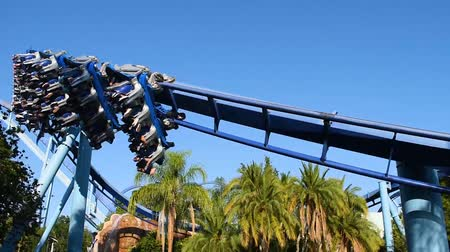 espetacular : Orlando, Florida. May 20, 2019. People having fun amazing Manta Ray rollercoaster at Seaworld.