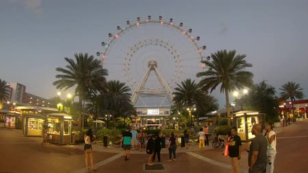 Orlando, Florida. May 25, 2019. Timelapse of Colorful and Illuminated Orlando Eye in International Drive area.