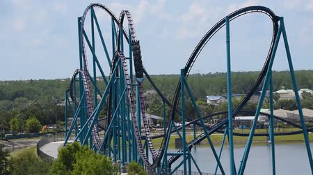 Orlando, Florida. June 03, 2019. Panoramic view of people enjoying Mako rollercoaster at Seaworld 2