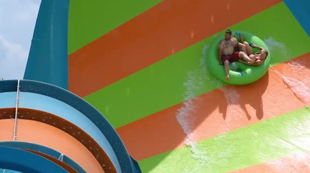 Orlando, Florida. June 05, 2019. People enjoying curve shaped wave in Karakare Curl attraction at Seaworld 3