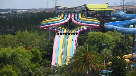 Orlando, Florida. June 03, 2019. People enjoying Taumata racer slide at high speed at Seaworld 1