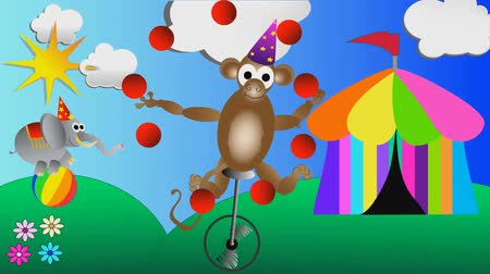 цирк : monkey juggling balls and circus elephant balancing on a big ball kids cartoon animation