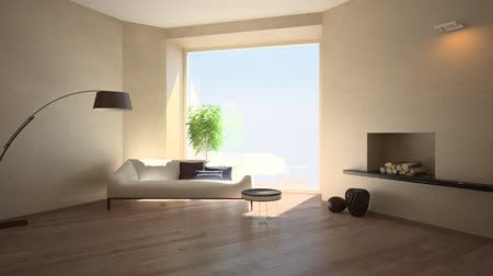 interior : Time lapse of shadows in a room interior (3D)