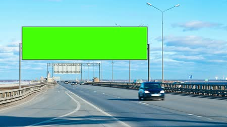 billboards : Billboard green screen on the highway Stock Footage