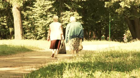 hemşirelik : Two elderly women walk in the park