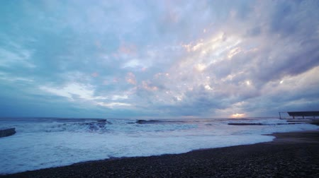 beach panorama : Storm on the Black Sea Stock Footage