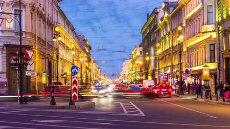 святой : St.Petersburg. Nevsky prospekt in the night. timelapse
