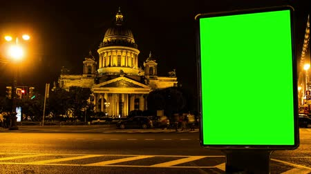 billboards : Billboard chromakey. St Petersburg. Russia. timelapse