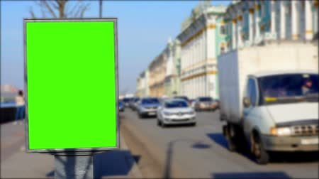 schermen : Billboard groen scherm in St. Petersburg. timelapse Stockvideo