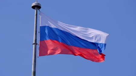 ruský : The state flag of the Russian Federation is fluttering in the wind