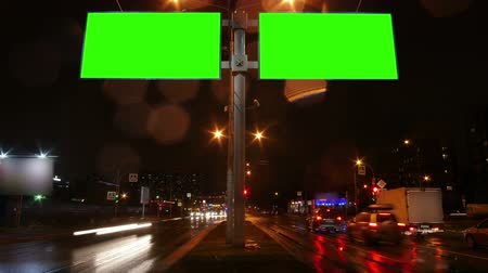 chroma key background : Chroma key green screen Billboard in the night city Stock Footage