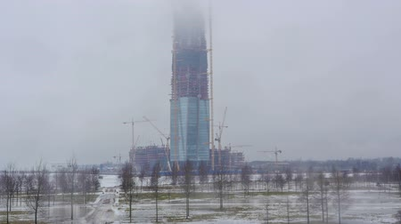 gazprom : Construction of the main office of Gazprom in St. Petersburg. 12.03.2017.timelapse