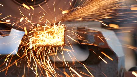 construction work : Angle grinder at work