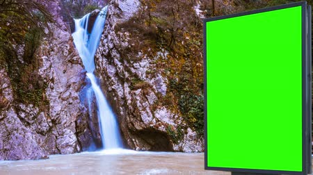 painel : Billboard green screen near the Fabulous waterfall
